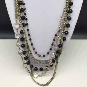 Coldwater Creek Black Beaded & Gold Chain Necklace
